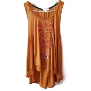 Coco + jaimeson Linen Mix Mustard Embroidered  Boh